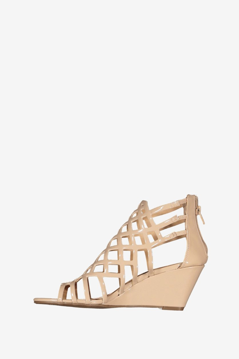 Henie Caged Demi Wedge Sandals, Nude Patent