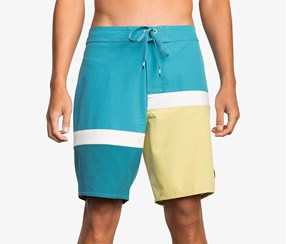 RVCA Men's Color blocked Swim, Blue/yellow