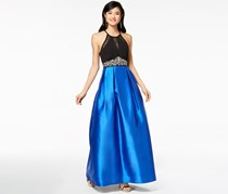 Teeze Me Juniors' Embellished Illusion Fit & Flare Gown, Black/Royal
