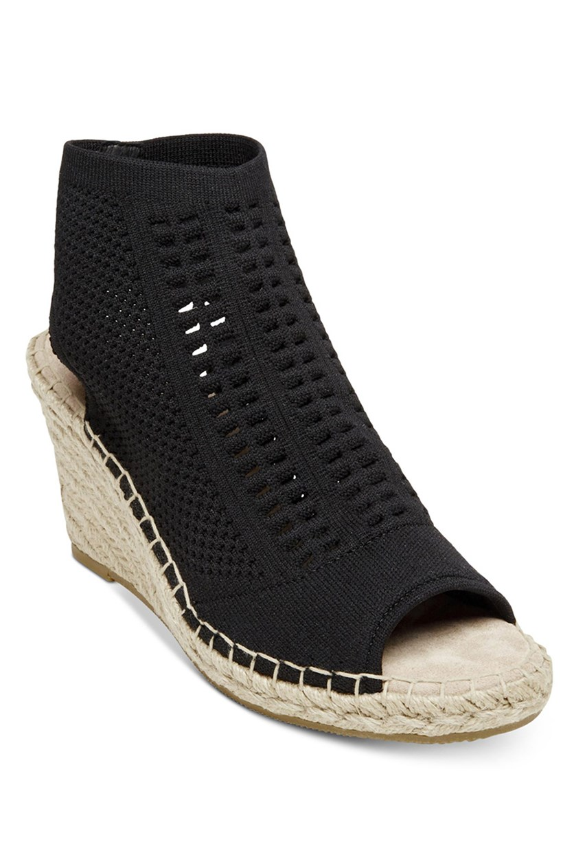 Womens Loca Knit Espadrille Wedges, Black