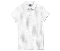 Nautica Girls Uniform Eyelet Polo Shirt, White