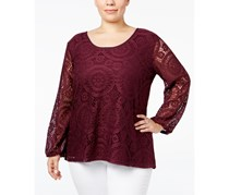 ING Women Plus Size Long-Sleeve Lace Top, Plum