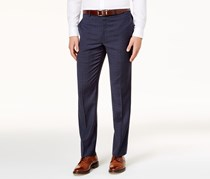 Mens Classic-Fit Windowpane Pants, Navy
