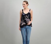 Free People Floral-Print Layered-Look Cami, Black Combo