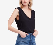 Free People Cleo Deep-V T-Shirt, Black