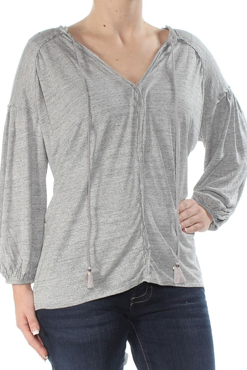 Just A Henley 34-Sleeve Top, Grey Heather