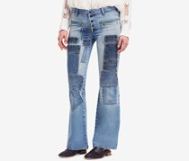Free People Women Patched Flare-Leg Jeans, Light Blue