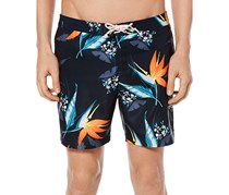 Original Penguin Mens Tropical-Print Swim Trunk, Dark Sapphire