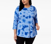 Calvin Klein Plus Size Tie-Dyed Drop-Shoulder Tops, Bold Blue