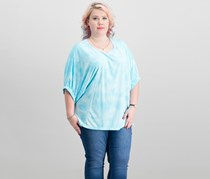 Calvin Klein Plus Size Relaxed Tie-Dyed T-Shirt, Cyan