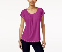 Ny Collection Petite Grommet-Trim Top, Magenta