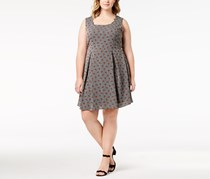 Monteau Trendy Plus Size Printed Pleated Dress, Black/Off White