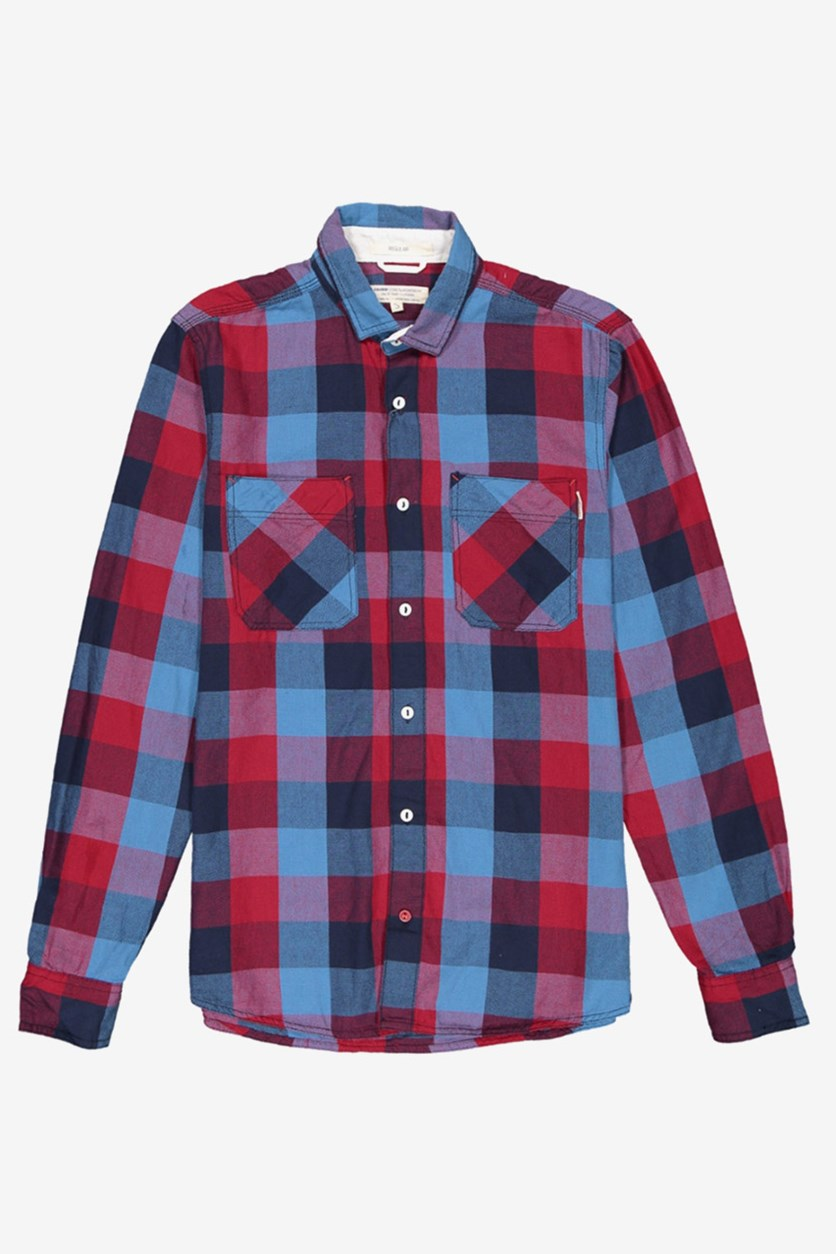 Men's Pocket Chest Shirt, Blue/Red Checked
