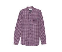 Men Long Sleeve Chest Pocket Casual Shirt, Navy/Red