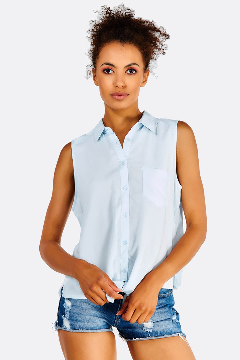 Women's Button Down Top, Light Blue