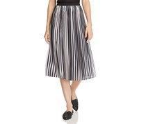 Eileen Fisher A-Line Pleated Midi Skirt, Black/Brown