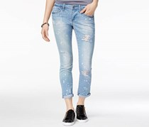 Rampage Juniors' Chloe Ripped Cuffed Skinny Jeans, Blue