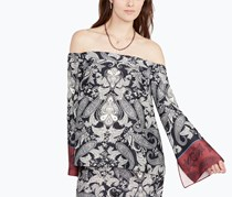 Rachel Roy Paisley-Print Off-The-Shoulder, Black/Port Combo