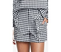 Rachel Roy Calle Gingham Ruffled Shorts, Black/White