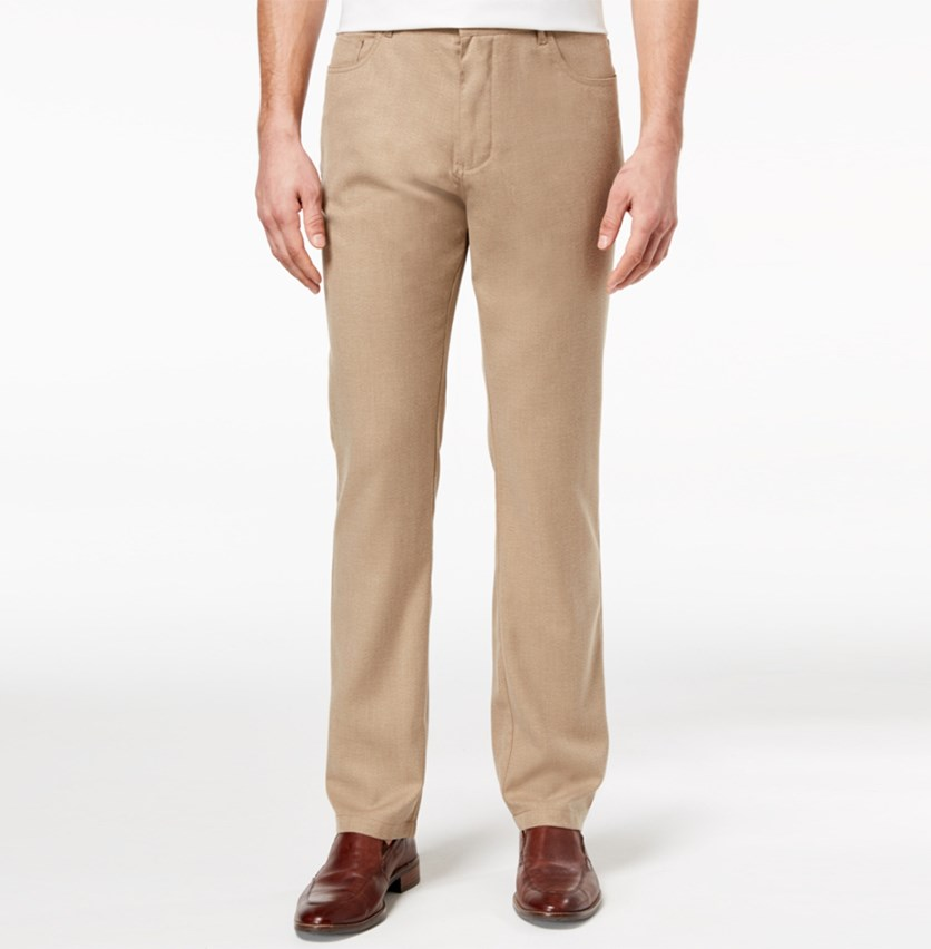 Men's Slim-Fit Stretch Twill Suiting Pants, Pastel Brown