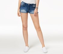 Indigo Rein Juniors High-Waisted Cuffed Denim Shorts, Blue