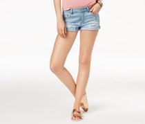 Indigo Rein Juniors' High-Waisted Cuffed Denim Shorts, Wash Blue