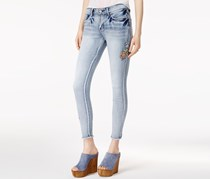 Embroidered Skinny Ankle Jeans, Light Blue Wash