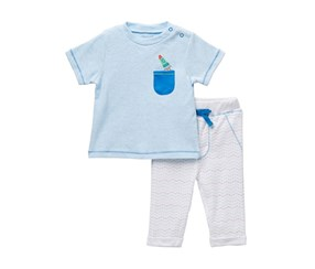 Rene Rofe Baby Boy's Rocket Ship Tee & Pant Set, Blue/White