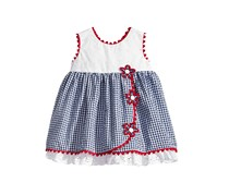 Toddlers  Eyelet Seersucker Dress, Navy/White