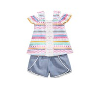 2-Pc. Striped Top & Chambray Shorts Set, Pink Combo