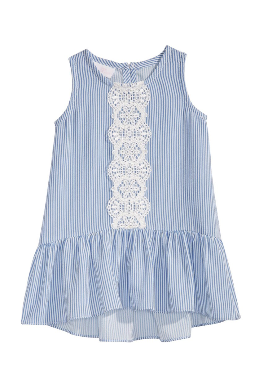 Toddlers Striped Flounce Dress, Blue