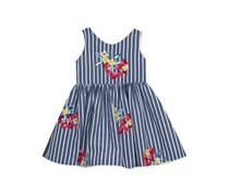 Rare Editions Striped Embroidered Dress, Navy Blue/White