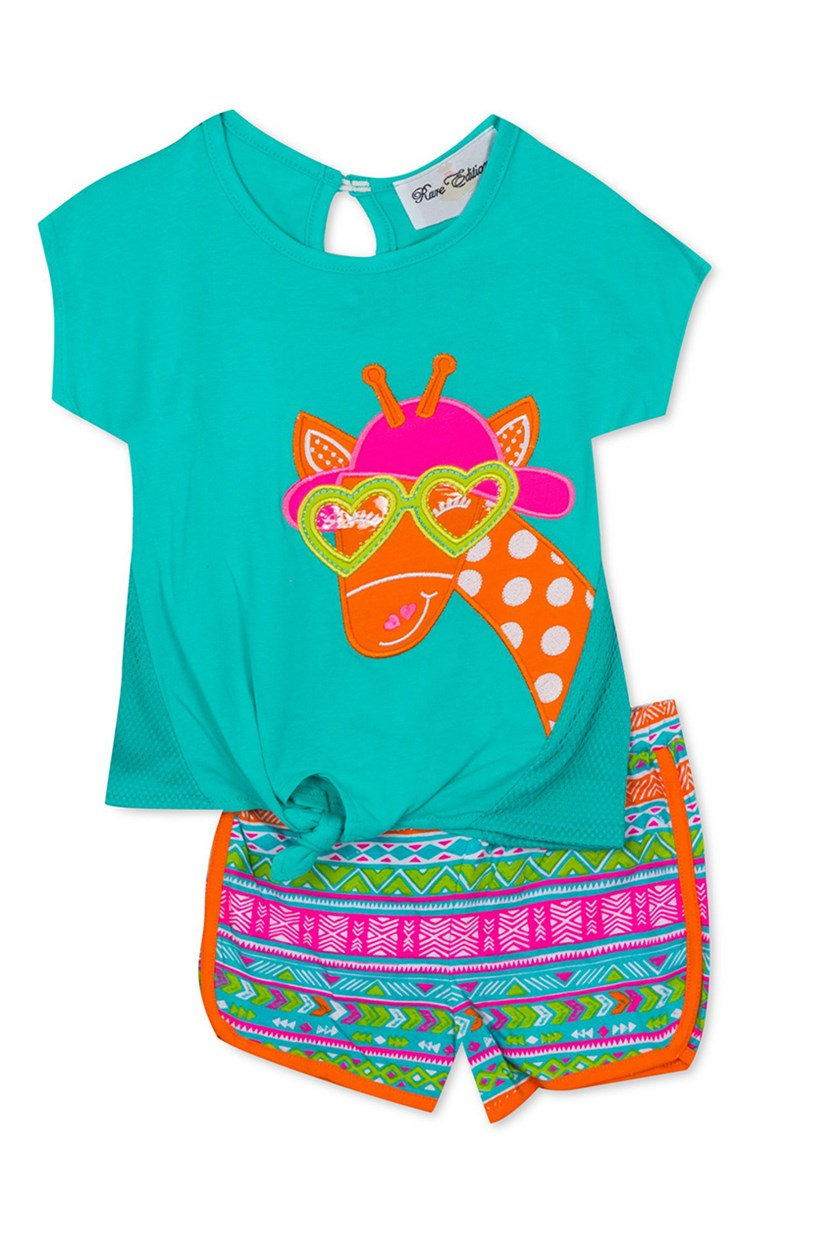 Baby Girls 2-Pc. Graphic-Print T-Shirt & Shorts Set, Aqua Combo