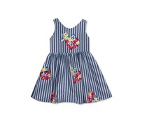 Rare Editions Embroidered Flower Stripe, Blue