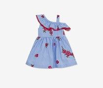 Rare Editions Girls Embroidered Ruffle Dress, Chambray