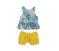 Baby Girls 2-Pc. Floral-Print Top & Bloomer Shorts Set, Blue/Yellow