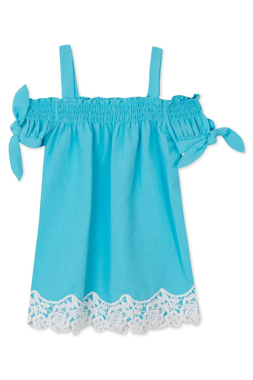 Toddlers Girls Seersucker Dress, Blue