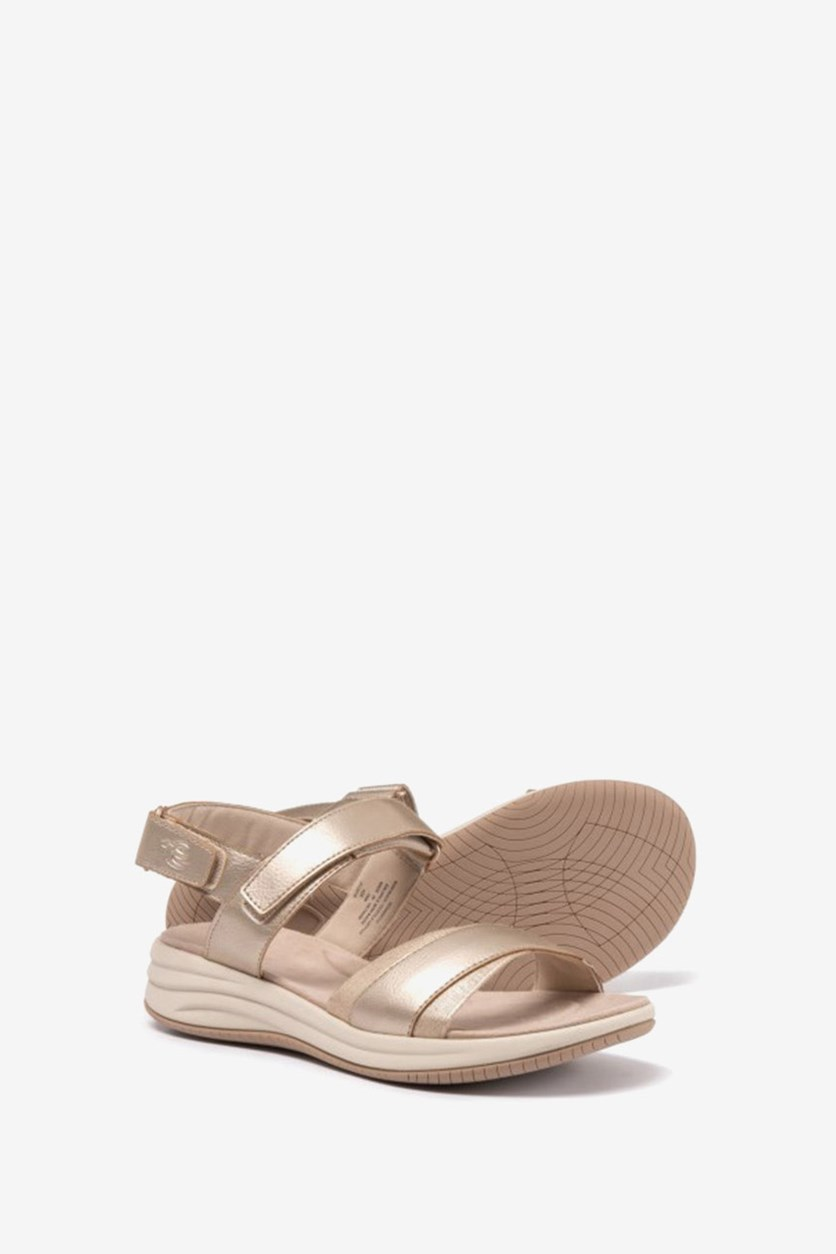 Draco 3 Wedge Sandals, Pale Gold