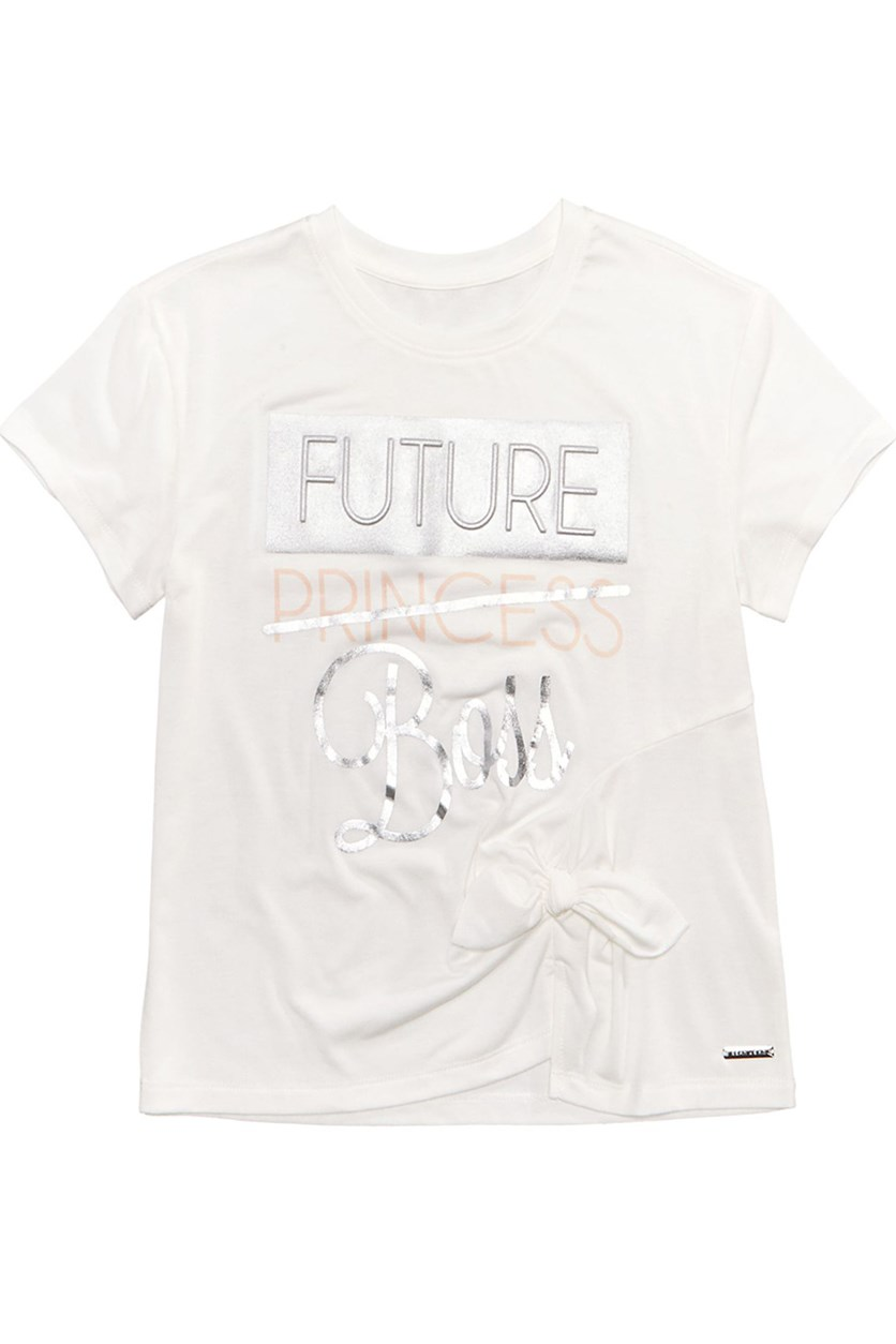 Big Girls Future Boss T-Shirt, Egg Shell