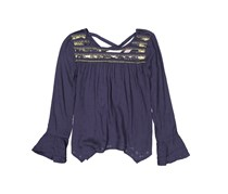 GB girls Girl's Embellished Long Sleeve Top, Navy