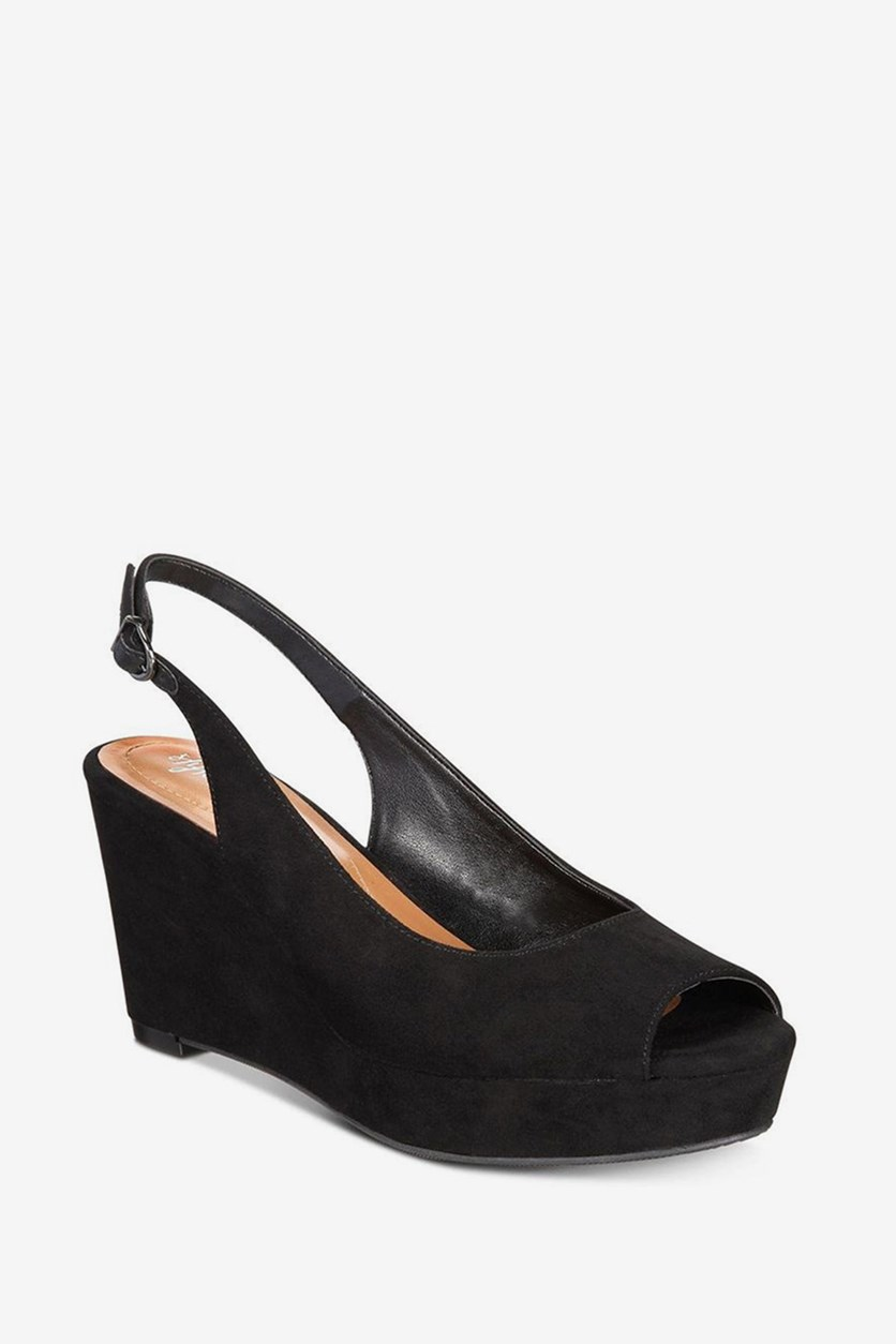 Women Sondire Slingback Wedge Sandal, Black Fabric