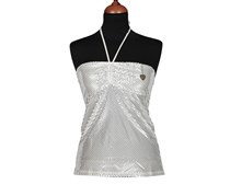 Guess by Marciano Women's Metallic Sleep Top, White/Silver