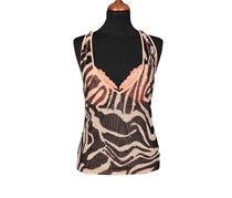 Guess by Marciano Women's Mesh Printed Sleep Top, Black/Peach Combo