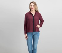LUSH Contrast Trim Woven Blouse, Maroon