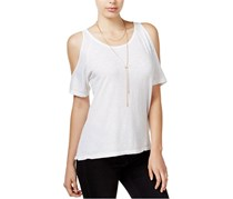 Sanctuary Women Heathered Cold-Shoulder Top, White