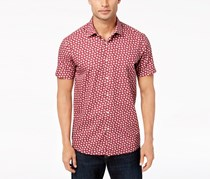 Tallia Men's Modern-Fit Wine Floral-Print Casual Shirt, Burgundy