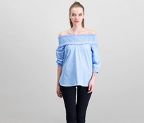 Re:named Women's Off Shoulder Top, Blue/White
