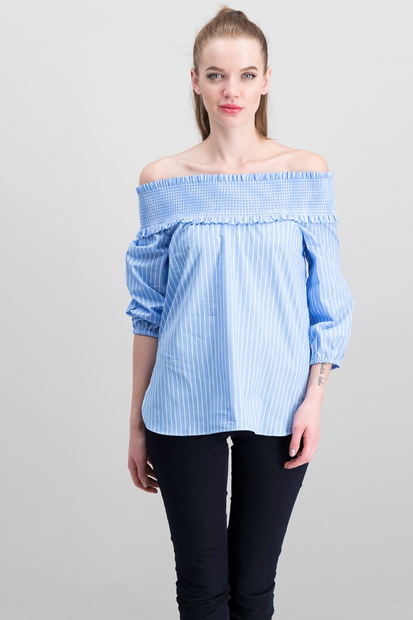Women's Off Shoulder Top, Blue/White