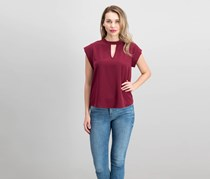 Alice Blue Keyhole Front Top, Maroon