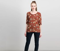 Alice Blue Floral Top, Brown Combo